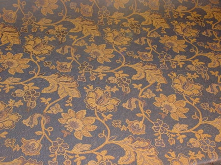 Blue Gold Floral Tapestry Upholstery Fabric