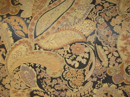 Blue Gold Floral Paisley Tapestry Upholstery Fabric