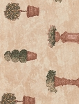 Waverly Terra Cotta Plant Design Cotton Print