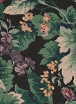 Stanley King Studios Black Green Tan Floral Cotton Print