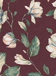 Magnolias Maroon Green White Floral Cotton Print