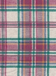 Pink White Green Plaid Cotton Print