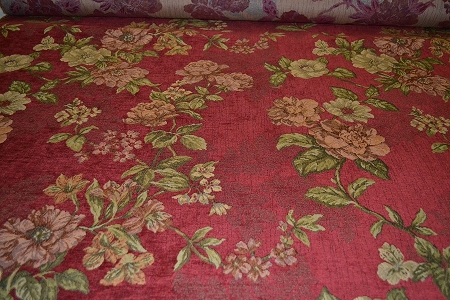 8 4 Yds Red Green Chenille Floral Upholstery Fabric