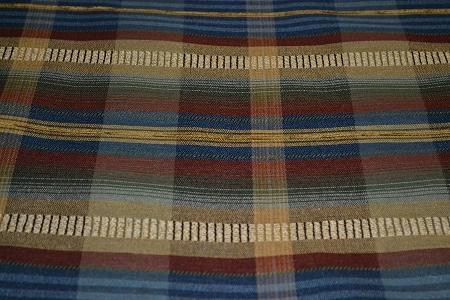 3 1 Yds Coreman Persian Blue Green Plaid Upholstery Fabric