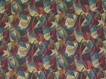 3 yards Falling Leaves Maroon Black Blue Gold Upholstery Fabric