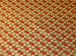 2.3 yds Modern Retro Squares Gold Brown Red Upholstery Fabric