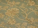2.6 yds Amazing Mineral Blue Tan Floral Pattern Upholstery Fabric