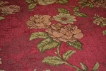 8.4 yds Red Green Chenille Floral Upholstery Fabric