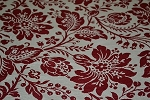 3.8 yds Jocelyn Crimson Red White Upholstery Fabric