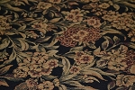 4.1 yds Moss Black Green Floral Upholstery Fabric
