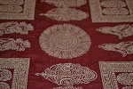 1.6 yds Indian Summer Crimson Washed Red Ivory Upholstery Fabric