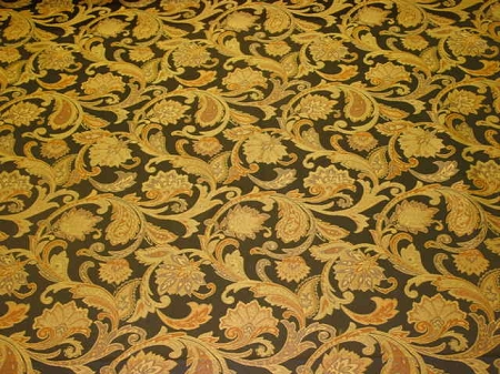 8 yards Navy Blue Gold Paisley Pattern Upholstery Fabric