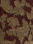 4.8 yards Maroon Gold Floral Pattern Upholstery Fabric