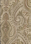 3.8 yards Harcourt Ginger Red Green Paisley Upholstery Fabric Ivory Gold
