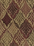 Brown Red Green Leaf Design Upholstery Fabric