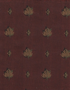 Maroon Beige Leaf Design Upholstery Fabric