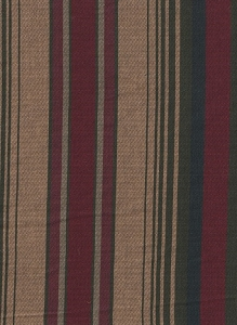 Maroon Tan Green Stripe Upholstery Fabric