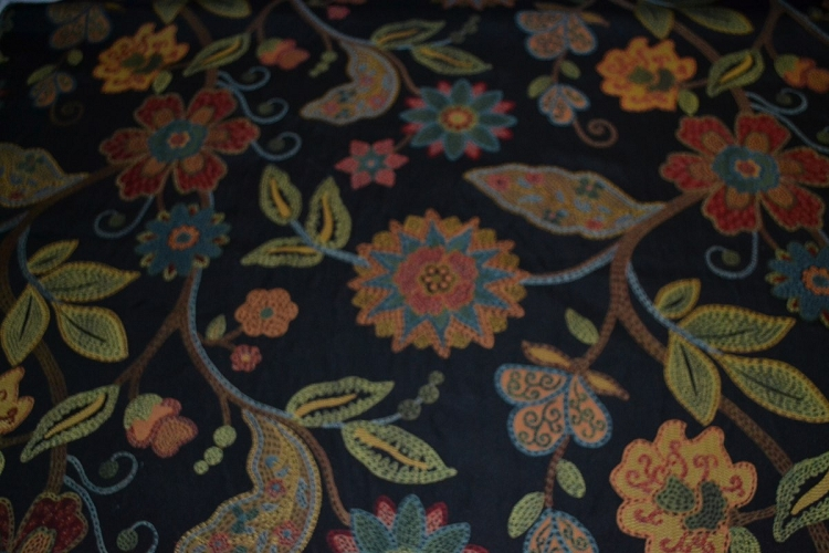 Hune Ebony Black Floral Upholstery Fabric