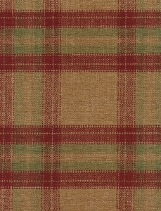 Red Gold Green Plaid Upholstery Fabric