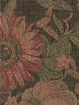 Green Red Floral Pattern Upholstery Fabric