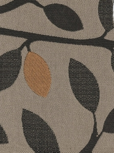 Beige Black Gold Leaf Design Upholstery Fabric