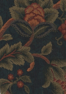 Blue Green Maroon Floral Upholstery Fabric