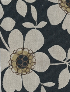 Chicklet Indigo Black Ivory Floral Upholstery Fabric