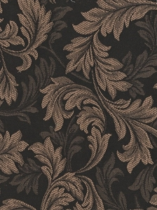 Light Brown Black Leaf Design Stripe Upholstery Fabric