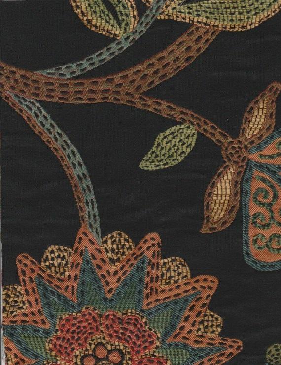 Hune Ebony Black Floral Upholstery Fabric