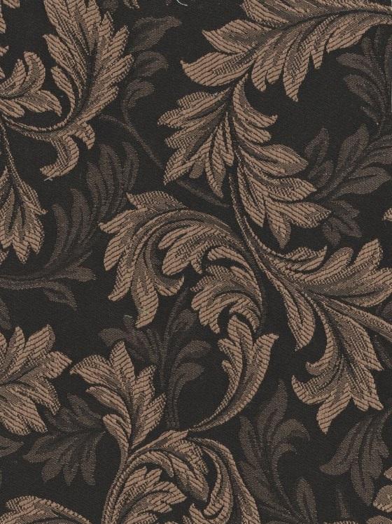 Light Brown Black Leaf Design Stripe Upholstery Fabric