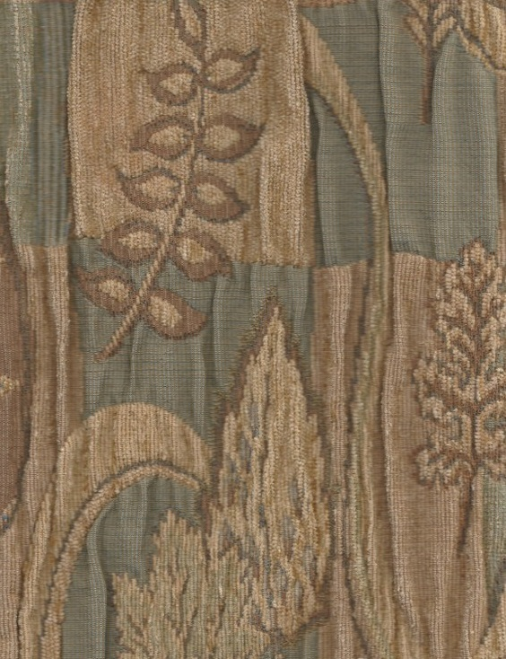 Olive Beige Brown Floral Upholstery Fabric