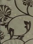 Chelsea Seafoam Sea Green Brown Vine Designer Upholstery Fabric