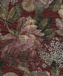 Nature Paprika Maroon Green Floral Upholstery Fabric