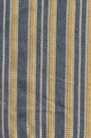 Marthaway Denim Blue Gold Ivory Stripe Upholstery Fabric