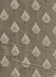 Tan White Leaf Pattern Upholstery Fabric