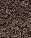 Trace Mocha Carrige Brown Gold Paisley Pattern Upholstery Fabric