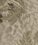 White Green Tan Floral Upholstery Fabric