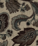 Andrea Brown Blue White Paisley Upholstery Fabric