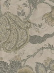 Mademoiselle Aloe Green Ivory Floral Upholstery Fabric