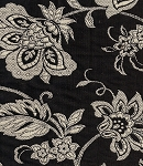 Cottage Vine Black Bird Floral Upholstery Fabric