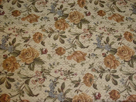 Caitlin Cool Yellow White Floral Upholstery Fabric