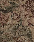Dallas Regal Green Red Tan Floral Upholstery Fabric