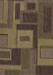 Plum Green Beige Geometric Design Upholstery Fabric