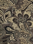 Black Beige Floral Pattern Upholstery Fabric