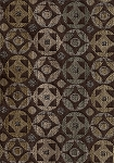 Silas Chestnut Brown Blue Retro Upholstery Fabric