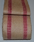 3.5 Inch Red Stripe Jute Webbing by the yard