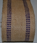 3.5 Inch Purple Stripe Jute Webbing by the yard