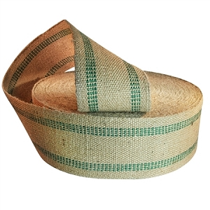 72 yard roll 3.5 Inch Green Stripe Jute Webbing