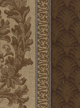 Formal Large Stripe Upholstery Fabric Brown Gold Blue