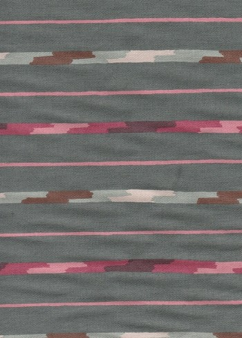 Trail Side Waverly Sea Geen Red Stripe Cotton Print